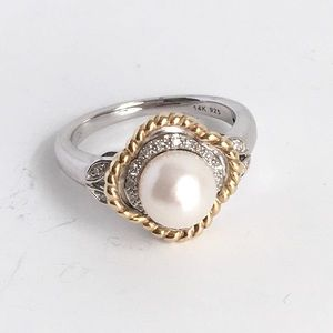 Town & Country Pearl Ring Quatrefoil 14k Gold 925